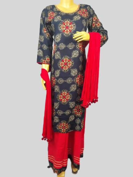 Blue Kurti set with all over work with Plazzo & Duptta