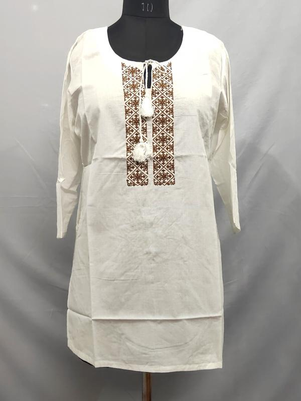 Short Kurti with embroidery on neck
